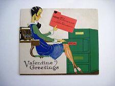 RARE Vintage Valentine w/ Secretary Filing The Name of Her Valentine *