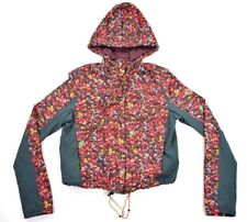 Without Walls Womens Red Floral Zipper Button Up Jacket Coat SZ S