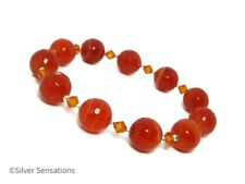 Faceted Orange Banded Agate Bracelet With Sterling Silver & Swarovski Crystals