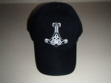 Viking Thor's Hammer Embroidered Black Otto Baseball Hat Cap  #CP43BLK