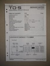 Roland TD-5 Percussion Sound Module Manual Service Notes First Edition