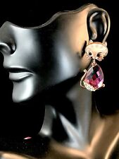 WHIMSICAL GOLDTONE AMETHYST PURPLE CRYSTAL RHINESTONE KITTY CAT PIERCED EARRINGS