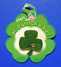 Dm Production Pin St Patrick Vintage Shamrock Hat Enamel Holiday Brooch New
