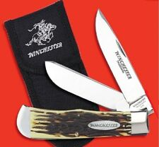 WINCHESTER Pocket knife Super Trapper Delrin Stag Handle with Sheath