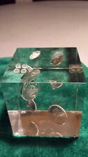 Vintage 1968 Canadian Coins in Lucite Cube Paperweight