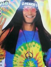 Fancy hippies set hippie glasses peace sign headband necklace 60s party costume