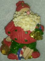 VINTAGE CERAMIC SANTA CLAUS WITH BAG OF TOYS AND HOLDING BELLS CHRISTMAS XMAS