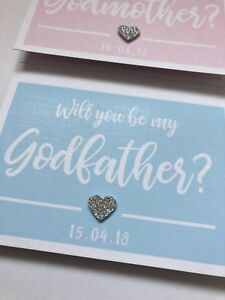 Personalised Will you be my Godmother/Godfather + Colour Options Linen Card