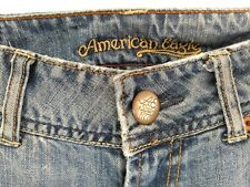 AEO womens 6 Reg. bootcut vintage distressed low rise jeans med wash blue