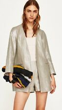 Zara New Silver Toned Linen Frock Coat Size L UK 12 Genuine Zara