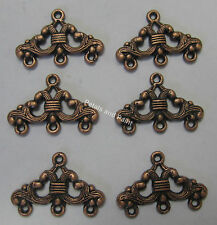 6 x 3 Row Ending Metal Finding End For Beading & Jewellery Making Copper Tone