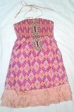 FREE PEOPLE Silk Dress Size 6 Halter Pink Orange Summer Spring Flawless EUC