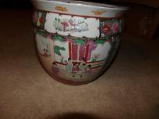 ORIENTAL PLANTER GEISHA FLORAL COY LARGE VNTG. ROSES , SIGNED BOTTOM AUTH.