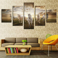5PCS Modern Oil Painting Wall Decor Art Huge No Frame - Grassland Running Horse