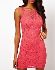 Lipsy Sexy Lace Bodycon Dress 10 Pink Coral Sequin Club Party Holiday Summer