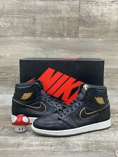 NIKE AIR JORDAN 1 RETRO HIGH OG CITY OF FLIGHT BLACK WHITE GOLD SZ 11 555088-031
