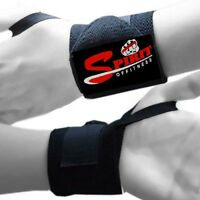 New Full Black Weightlifting Wrist Wraps Gym MMA Training Wrist Support Straps
