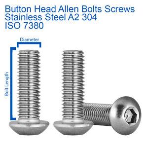 M5 M6 M8 BUTTON HEAD ALLEN BOLTS HEX SOCKET SCREWS A2 STAINLESS STEEL - ISO 7380