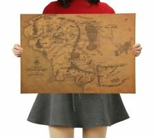 Vintage Middle Earth Map on the Lord of The Rings Poster Wall Sticker Retro Kraf