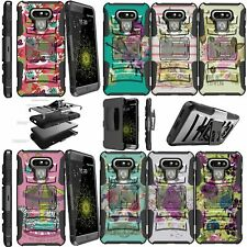 For LG G6 H870 (2017) Shockproof Dual Layer Kickstand Holster Clip Case Flowers