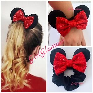 Mickey Mouse Bow Tie Scrunchie Hairband Hair Elastic Band Headband Costume Dress