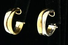 """Cartier Hoop Earrings 18k Yellow White Two Tone Gold  3/4"""" 14.8g Vintage"""