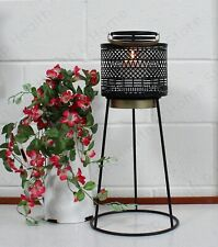 African / Moroccan Style Black & Gold Candle Lantern. Large Round Tripod Stand.