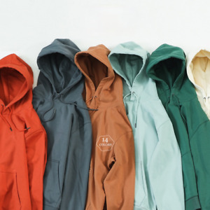 Autumn Winter Hooded Hoodies Men Thick Fabric Solid Basic Sweatshirts Pullovers