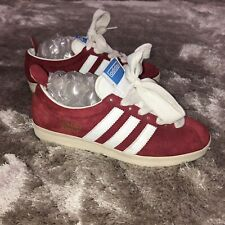 Rare 2005 Adidas GAZELLE Red Suede Cities Range Ribbon 80s Trainers 7.5 - 807833