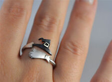 Cute Halloween Ghost Witch Broom Finger Open Ring Party Role Playing Accessories