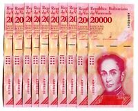 VENEZUELA BOLIVARES 10 X 20000 (20,000) P-NEW UNC LOT 10 PCS Total