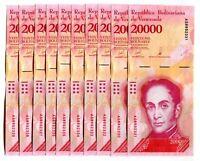 VENEZUELA BOLIVARES10 X 20000 (20,000) P-NEW UNC LOT 10 PCS Total
