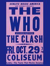 "The Who / Clash Colseum 16"" x 12"" Photo Repro Concert Poster"