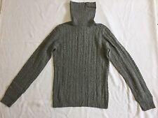 JCrew Light Grey Cable Knit Cashmere Blend Turtleneck Sweater Sz S EUC