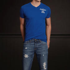 NWT HOLLISTER by Abercrombie Men's V-neck T-Shirt Blue SIZE L