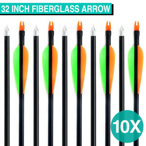 "10PCS 32"" FiberGlass Arrows Archery Hunting Compound Bow Fiber Glass Bows HOT"
