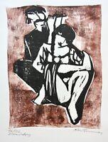 Adolf Brunner (1905-1975) sign. Farbholzschnitt, sitzende Frau mit Flötenspieler