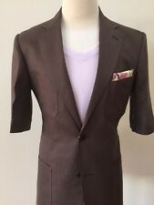 Brown linen safari French suit/flat front pant/shorts sleeves-Made in Italy