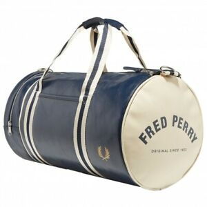 FRED PERRY CLASSIC BARREL BAG NAVY/ECRU L3330 635  NEW WITH TAGS MEDIUM