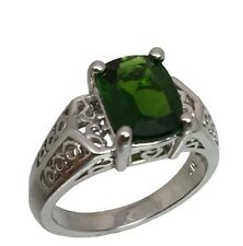 Natural Crome Diopside Silver Ring, FREE SIZING, USA SELLER