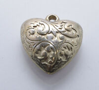 Gold Tone Embossed Puffy Heart Necklace Pendant Vintage Estate Costume Jewelry
