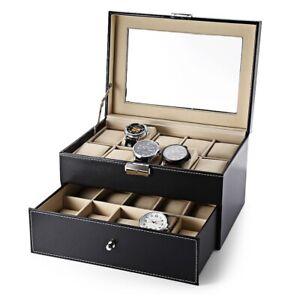 2/6/10/12/20 Grids Watch Display Case PU Leather Jewelry Storage Box Organizer