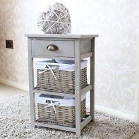 Grey Drawer Storage Unit Wicker Baskets Shabby French Chic Home Bedroom Kitchen