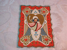 Whitney Valentine Embossed With Girl & Heart Valentine Vintage Card T*