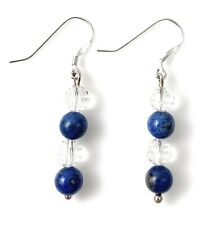 Sterling Silver Blue Lapis Lazuli Drop Earrings - Handmade UK - Genuine Lapis