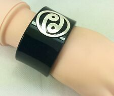"Ying Yang Inlaid 925 Black Cuff Bangle Wide Bracelet, 6.5""/17cm"