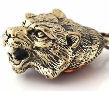 Cognac Baltic Amber Keychain Keyring Pendant Solid Brass Tiger Head Figurine