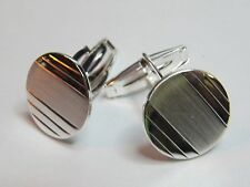 ROUND CUFF LINKS STERLING SILVER - NEW (#2)
