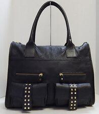 Regina Italy Black Pebbled Leather Tote Bag