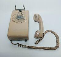 Western Electric vintage wall mounted telephone Tan beige  rotary telephone
